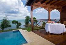 Water Front Accommodations / Our Water's Edge Cottage are 1,000 sq. ft on the edge of Mosaic Beach and features plunge pools, outdoor showers and hammocks