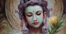 Tara / Tara _ Tibetan. The Earth Goddess, she is fertility, feminine beauty, mastery and compassion. In Her first life in India She was born as a male named Avalokitesvara, who sought to help poor lost souls be reborn to a better life on their journey to enlightenment. But he was overwhelmed and anguished when more lost souls kept coming in what seemed an endless cycle. In his despair he shattered into a thousand pieces. From his remains they shaped him as a woman, a Goddess.