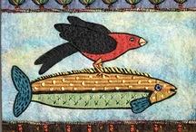 folk art nautical - fish, whales, mermaids...