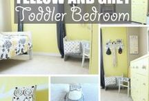 Yellow Toddler Bedroom / Welcome to our yellow toddler bedroom. Featuring grey and white accents and an owl motif. This room is a super happy fun place for a cute and quirky kid! Here I've pinned images of the room as well as other inspiring photos and product links if you'd like to create your very own yellow toddler bedroom.