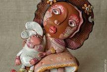 куколки=дерево, папье-маше,глина