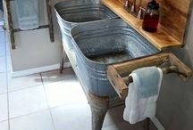 Rustic Bathrooms / Bathrooms don't have to be slick and polished, they can be packed full of rustic features.