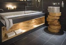 Slate Bathrooms / Slate is a beautiful material to use in the bathroom, whether used roughly or smoothly.