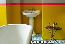 Colourful Bathrooms / Embrace #colour in your life and in your #bathroom. Make it a fun place, and have colours that pop!