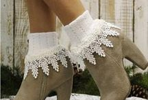 Product board / lace socks, barefoot sandals, boot socks, leg warmers, scarves, ponchos, lace accessories, jewelry, boot cuffs and more by Catherine Cole Studio