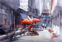 Derek Kingnok-Contemporary Watercolours / (TH, b. 1976) Kingnok has a expressive, loose and nuanced, articulated style, with well balanced compositions and masterful understanding of tonal value. Excellent watercolours! See him on youtube.