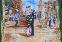 Escenas pintadas / mosaicos-azulejos-pavimentos