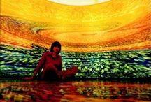 """Installation Art by Carina Aprile - Tridimensional Painting / """"LA CASA TOMADA""""-  omaggio a Julio Cortázar.  Una """"Casa"""" per immergersi in un'opera pittorica ideata e realizzata da Carina Vanesa Aprile nel 2001 in Italia:""""... Una pittura cilindrica, sorretta da una tensostruttura, nella quale il fruitore non è più spettatore ma si integra in essa vivendola dall'interno nella sua tridimensionalità...""""  © Carina Aprile"""