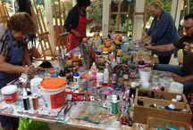 Workshops experimentele technieken / Eens per maand geef ik een dagworkshop in experimentele schildertechnieken. Heb je interesse om een keer deel te nemen? Kijk voor nieuwe data op www.hetpaersehuys.nl