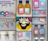 Gender Reveal Party Ideas & Decorations / Gender Reveal Baby Shower Personalised Party Decorations Supplies Packs Shop Online Australia Banners Bunting Wall Display Cupcake Toppers Chocolate Wrappers Juice Water Pop Top Labels Posters Lanterns Invites Cup Stickers Ideas Inspiration Cake Table Katie J Design and Events