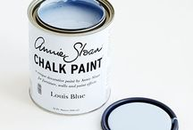 Louis Blue Chalk Paint® / A pretty pastel blue works particularly well when waxed with a dark brown.  Purchase online at www.artworksnw.com or find a retailer near you at www.unfolded.com.
