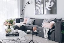 Interior ideas / Ideas for our first home.  Modern and Scandinavian. Including grey carpet, natural wood vinyl, white walls and kitchen, concrete look bench top and tiles. Oak and black furniture