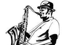 Jazz Black & White Illustrations / jazz scene black & white illustrations by Eri Griffin http://www.erigriffin.com