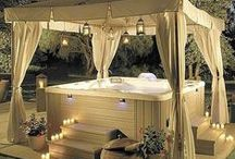Gazebo | Hot Tub Ideas / Looking to escape the stresses of the day? Enjoy a beverage while relaxing in a hot tub or read a book in your little get-away. Gazebos & Hot Tubs can be a lovely sanctuary to remind us what is important in life.