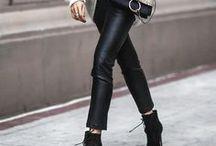 Schwarzes Leder / Outfit-Inspirationen wie man Lederröcke, Lederhosen und Lederjacken perfekt kombiniert.