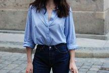 Blaue Hemdblusen / Outfit-Inspirationen für blaue Hemdblusen