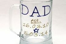 Father's Day Personalised Gifts by R.E.S Designs / Gifts for Father's Day - family plates, coffee mugs, beer glasses.  Personalise them with your family members.  Custom orders welcome!