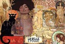 Belle Èpoque / A Moda era tão efusiva quanto as pessoas. Os espartilhos afinavam a cintura e estufavam o peito, formando uma silhueta em S. Os vestidos eram cheios de rendas, bordados, babados e detalhes. As mangas longas iam além da metade das mãos. Os chapéus e leques eram verdadeiras arranjos, ostentando penas e até mesmo pequenas esculturas.  Gibson Girl;  Moulin Rouge, dançarinas de Kan kan;  Art Nouveau;