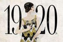 Década de 20 / As melindrosas; jazz; tricos com motivos geométricos; ombros caídos e chapéu enterrado na altura da sobrancelha; Arte Decor; Cabelos curtos, Boca marcada. Modelos sem curvas; Chanel Nº 5;