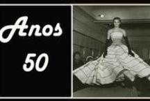 Década de 50 / Luvas bracas; Mulher dona de casa; Cintura marcada; tempos da brilhantina; Salto agulha; Rock; Espadrilhas; Silhueta Lápis; Jeans começa a ser difundido; vestidos pretos