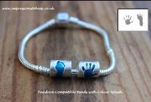 Pandora Compatible Beads & Charms / Pure Silver beads & Charms that fit onto your Pandora or Chamillia – each bead has the actual print of your child's hand or foot upon it.  https://www.facebook.com/Impressionstokeep www.impressionstokeep@btinternet.com