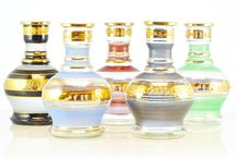 Beautiful and Unique Glass Hookah Bases / Our collection of unique and authentic glass hookah bases. Mouth blown in the middle east and painted with traditional glazes. Beautiful Pieces.