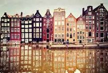 Amsterdam Life / My City. Pins of Amsterdam buildings, boats, bikes, people, scenery.