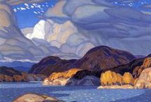 The Group of Seven / Oil paintings of Canadian landscape by artists known as the Group of Seven or artists associated with them.  The original group consisted of Franklin Carmichael, Lawren Harris, A. Y. Jackson, Frank Johnston, Arthur Lismer, J. E. H. MacDonald, and Frederick Varley. Later, A. J. Casson was invited to join in 1926; Edwin Colgate became a member in 1930; and LeMoine Fitzgerald joined in 1932. Two artists commonly associated with the group are Tom Thomson and Emily Carr.
