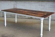Reclaimed Barn Wood Harvest Trestle & Sawbuck Tables / Custom Reclaimed Barn Wood Harvest Trestle & Sawbuck Tables