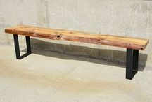 Reclaimed Barn Wood Benches / Custom Bench made from Reclaimed Barn & Live Edge Wood
