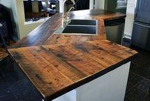 Reclaimed Barn Wood Counter Tops & Vanities & Islands / Custom Counter Tops, Vanities & Islands Made from Reclaimed Barn Wood.