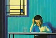 Illustrator // Liu Ye / Liu Ye (born 1964) is a Beijing-based contemporary Chinese painter known for his bright-hued paintings of childlike female figures, his favorite cartoon character Miffy the bunny and works inspired by Piet Mondrian.