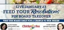Feed Your Resolutions / Visit this board January 23-27 for healthy recipes and tips to feed your New Year's resolutions! Two #EatMoreSeafood prize packs will be given to participants that engage the most on this board and our prize question pin.