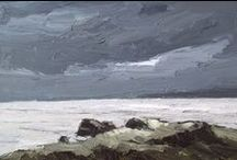 Painted seascapes / Painted seascapes of various artists, mainly oil paint on linen. Waves in paint.
