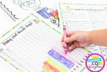 Data Tracking / Graphs, goal sheets, binders, and notebooks for elementary teachers and students to track data.