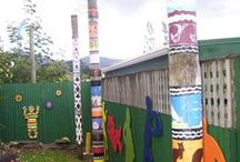 Pou ideas / Painted Pou, Pouwhenua by school kids and artists in New Zealand and around the world