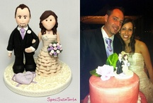 """Wedding Cake Toppers - www.sposisullatorta.it  / What is a cake topper? This is the statuette to put on the """"wedding cake""""!  My cake toppers are made by hand (Polymer Clay), custom made and similar in all respects to the real protagonists. I model them without the use of molds, with a lot of care and attention to detail, based on photos that are sent to me by the spouses themselves or by those who want to give them a special gift, original, which remains unchanged. www.sposisullatorta.it - info@sposisullatorta.it"""
