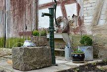 Brunnen / Dekoration mit Zink, Wasserpumpe für Brunnen, Pumpe für Garten, Dekoration um einen Brunnen