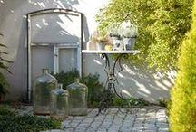 Innenhof im Herbst / Innenhofdekoration im Herbst, Dekoideen für kleine Gärten, Deko mit Kürbissen