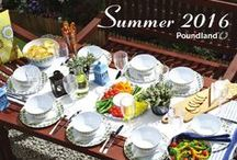 Outdoor Living Lifestyle: Summer Look Book 2016 / Welcome to Poundland's Summer Collection 2016. This complete guide offers practical solutions for every summer occasion, whatever the weather, all for just £1 each. Be inspired by the alfresco dining range, with its mosaic yellow and blue tableware pattern and co-ordinating accessories – it's perfect for all outdoor dining occasions.