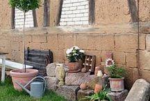 neue Sitzecke / Gartendekoration, Ziegel, natürliche Gartensitzplätze