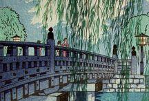 Japanische Holzschnitte / Traditionelle japanische Kunst und japanischer Holzstich von Hokusai, Kawase & Co.