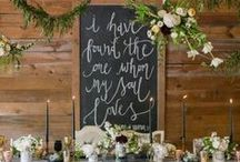 """{Trend} """"Chalk"""" it Up to LOVE / Chalkboard details at a wedding are a modern and fun way to showcase your event and include guests in the celebration— from simple chalk coasters that family and friends can scribble on to bold blackboard signs!"""