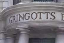 ◬ gringotts / Gringotts Wizarding Bank is the only bank of the wizarding world, and is owned and operated by goblins. It was created by a goblin called Gringott, in 1474. Its main offices are located around the North Side of Diagon Alley in London, England.