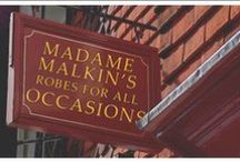 ◬ madam malkin's / Madam Malkin's Robes for All Occasions, also known as Madam Malkin's Robes or simply Madam Malkin's, is a store where students get their Hogwarts school uniforms, and wizards and witches can purchase dress robes, travelling cloaks and such.