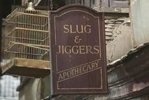 ◬ slug & jiggers / Slug & Jiggers Apothecary is a shop in Diagon Alley, established in 1207, which sells potion ingredients.