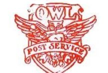 ◬ owl post / Owl post is a wizarding system of sending messages or items using owls as the carriers. Besides the Owl Post Office, individuals and organisations with their own owls use them as their mail bearers.