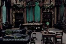 ◬ slytherin dungeon / The Slytherin Dungeon serves as the common room for students in Slytherin house at Hogwarts School of Witchcraft and Wizardry. It is located behind a wall in the dungeons of Hogwarts.