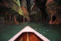 Apostle Islands Kayaking Trips / The Apostle Islands are a group of 22 islands on the south shore of Lake Superior that are a sea kayaking paradise. Wilderness Inquiry's Kayak Base Camp near Little Sand Bay offers the perfect jumping off point to explore the majestic sea caves, stunning sandstone cliffs, white sandy beaches, and breathtaking sunsets over Lake Superior.