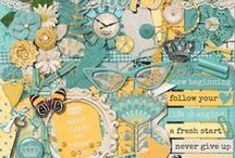 {A New Me} Digital Scrapbook Kit by Magical Scraps Galore / With its refreshing colors and a positive message, A New Me is all about new beginnings and changes in your life, whether it's a new relationship, a new job, a new direction in your life or just a NEW YOU!  This collection includes 2 full alphas, one teal and one yellow, with numbers and punctuation, 28 textured papers (16 patterned papers, 6 glitter sheets, 6 bonus cardstocks), and 46 unique elements.